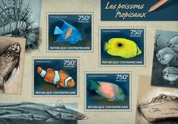 CENTRAL AFRICAN REPUBLIC SHEET. LES POISSONS TROPICAUX. FISHES. PECES TROPICALES. 2014. PERFORADO NUEVO. - Repubblica Centroafricana