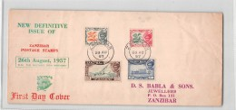 L67 01 FDC ZANZIBAR 1957 H. H. THE SULTAN'S 79TH BIRTHDAY - Zanzibar (...-1963)