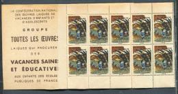 Carnet Complet De Timbres Neufs De 1949 Jeunesse Au Plein Air - Erinnophilie