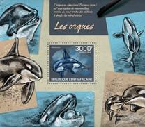 CENTRAL AFRICAN REPUBLIC SHEET. LES ORQUES. KILLER WHALES. ORCAS. 2014. PERFORADO NUEVO. - Repubblica Centroafricana