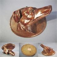 ~ TETE DE CHIEN F. PEYROUX ECOLE BOULLE 1911 # Sculpture Statue Animal Sculpteur Art Populaire - Bois