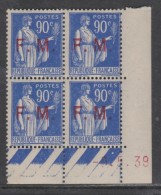 France F. M. N° 9 XX  90 C. Outremer En Bloc De 4 Coin Daté Du 3 . 5 . 39,  1 Point Blanc, Sans Charnière, TB - Coins Datés