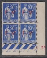 France F. M. N° 9 XX  90 C. Outremer En Bloc De 4 Coin Daté Du 3 . 5 . 39,  3 Points Blancs, Sans Charnière, TB - Coins Datés