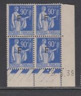 France F. M. N° 10 XX  F 90 C. Outremer En Bloc De 4 Coin Daté Du 9 . 5 . 39,   1 Point Blanc, Sans Charnière, TB - Dated Corners