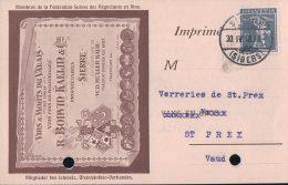 CP Suisse Publicité, Vins Du Valais En Gros R. Bonvin-Kaelin Sierre (30.4.18) Perforée - Advertising