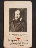 SANTINO - HOLY CARD - IMAGE RELIGIEUSE, SAINT FRANÇOIS DE SALES, 1922 - Devotion Images