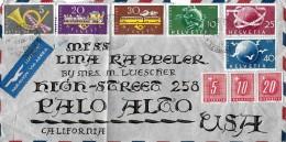 NACHPORTOMARKEN → Ziffer Und Kreuz 1949, Brief Nach Californien USA - Portomarken