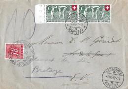 NACHPORTOMARKEN → Ziffer Und Kreuz 1947 Auf Brief Zu 2x SBK-B34 - Portomarken