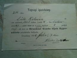 D142151 Hungary  Orosháza  Orosházi  Gazda Ifjak  Egyesülete - Membership  Fee  Paid  Receipt 1932 - Documentos Antiguos