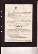 TESSENDERLOO TESSENDERLO BEVERLOO Johannes OOMS Eere-notaris 1856-1926 Doodsbrief - Décès