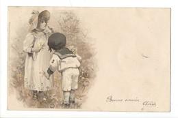 15824 - Couple Fillette Et Jeune Enfant Bonne Année Meissner Série 1048 - Autres