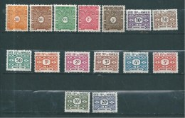 Timbres Des Cote De Somalis  Taxes  De 1944/47  N°39 A 53 Complet  Neufs * - Costa Francese Dei Somali (1894-1967)