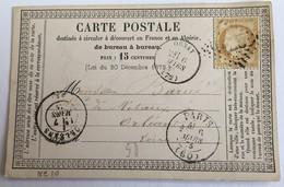 CARTE PRÉCURSEUR De ORSAY Pour NÉGOCIANT DE MÉTAUX A ORLÉANS Affranchissement Type Cérès Mars 1875 - Entiers Postaux