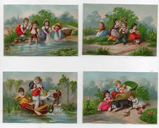CHROMO Enfants Jeu Jouets Poupées Fleurs Chien Lavandières Barque Pêche (4 Chromos) - Unclassified