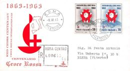 FDC Kim Cover- Italia - 1963 - Centenario Croce Rossa - VG - Timbro Arrivo - 6. 1946-.. Republic