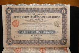 Action 100fr Terres Réfractaires Grès Kaolins Riec Sur Belon Bretagne 1929 - Mines