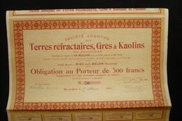 Obligation 500fr Terres Réfractaires Grès Kaolins Riec Sur Belon Bretagne 1920 - Mines