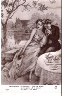 Cp Femmes Peinture Tableau Salon De PARIS G GRELLET SUR LE BORD Femme Mode Robe  Dé Nue Dé - Peintures & Tableaux