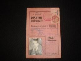 CARTE  Ville De GRENOBLE  Piscine  Municipale 1945-  1 Franc - Fiscale Zegels
