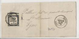 Taxe 30c Noir Prédécoupé Sur Lettre Du Tribunal De Commerce De Lyon - 1881 - Taxes