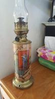 Lampe à Pétrole . Dessins Chinois - Bronze Et Céramique ? Tube Verre , Superbe - Lamps