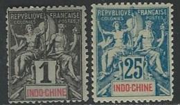 Indochina  1892-1900   Sc#3 MH* 1c , #14  MLH* 25c  2016 Scott Value $25.25 - Indochina (1889-1945)
