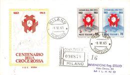 FDC Rodia - Italia - 1963 - Centenario Croce Rossa - Racc. Con Timbro Arrivo - 6. 1946-.. Republic