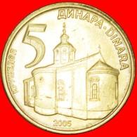 § MONASTERY: SERBIA ★ 5 DINAR 2005 MINT LUSTER! LOW START ★ NO RESERVE! - Serbie