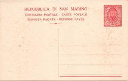 San Marino 1925 - Intero Cartolina Postale Risposta Pagata 40+40 - Nuovo *** - Italia