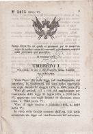 Regio Decreto 1879 - Umberto I - Archivi Notarili Provincie Già Pontificie - Non Classés