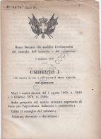 Regio Decreto 1879 - Umberto I - Ordinamento Consiglio Industria E Commercio - Vecchi Documenti
