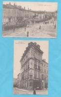 LUNEVILLE (54) 2 CPA 1918 SOLDATS DEFILE MUSIQUE ET  PHOTOS R/V - Luneville