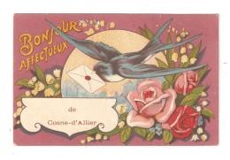 Carte Fantaisie 03 COSNE D'ALLIER Bonjour Affectueux De Cosne D'Allier Hirondelle Muguet Roses 1930 - Autres Communes