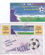 Biglietto E Cartolina Lotteria Nazionale - Campionato Mondiale Calcio USA 1994 - Vecchi Documenti