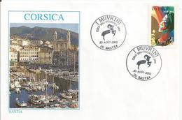 """Enveloppe Avec CàD Grand Format """"I Muvrini - Giru 2002 - Tournée 2002"""" Du 20 Août 2002 - Bastia - Marcophilie (Lettres)"""