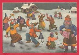 218814 / Croatia Art IVAN GENERALIC - OILS ON GLASS - MASQUES , CARNIVAL , MUSIC , DANCE , VILLAGE , Croatie Kroatien - Peintures & Tableaux