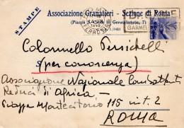 1949 CARTOLINA INTESTATA ASSOCIAZIONE GRANATIERI CON ANNULLO ROMA + TARGHETTA - 6. 1946-.. Repubblica