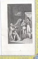 Litografia - Suonatore D'arpa  - .XIX  Secolo - Incisioni