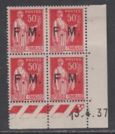 France F. M. N° 7 X  Type Paix 50 C. Rose-rouge En Bloc De 4 Coin Daté Du 13 . 4 . 37, 3 Pts Blancs, Trace Ch., SinonTB - Ecken (Datum)