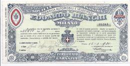Edoardo Bianchi Milano - Certificato Di Garanzia Bicicletta - 1921 - Historical Documents