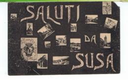 CPA-1909-ITALIE-SUSA-MULTIVUES-SALUTI DA SUSA-AVEC LE TIMBRE- - Italia