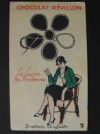 "Chromo CHOCOLAT REVILLON ""N°2 BRODERIE ANGLAISE / SERIE LA LECON DE BRODERIE"" - Trade Cards"