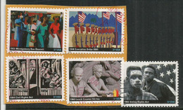 USA: Civil Rights Act Of 1964:  End Of Racial Segregation. 5 Stamps (canceled) On Paper - Unabhängigkeit USA
