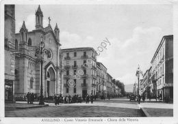 Cartolina - Postcard - Avellino - Corso V. Emanuele - Chiesa - Animata - Anni 50 - Italia