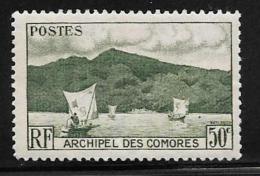 Comoro Islands, Scott # 31 Mint Hinged Anjouan Bay, Boats, 1950 - Comoros