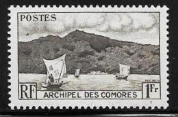 Comoro Islands, Scott # 32 MNH Anjouan Bay, Boats, 1950 - Comoros