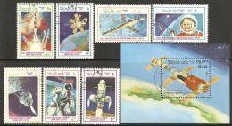 Laos 1986 Mi# 904-910, Block 110 Used - First Man In Space, 25th Anniv. - Laos