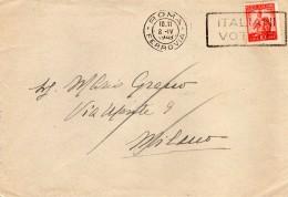 1948   LETTERA CON ANNULLO ROMA + TARGHETTA ITALIANI VOTATE - 6. 1946-.. Repubblica