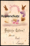 ALTE PRÄGEPOSTKARTE FRÖHLICHE OSTERN Hasen Vermenschlicht Hase Rabbit Bunny Easter Embossed Gaufree AK Cpa Postcard - Animali Abbigliati
