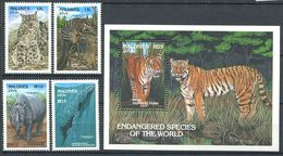 179 MALDIVES 1993 - Yvert 1654/57 BF 277 - Faune En Danger - Felin ... - Neuf ** (MNH) Sans Trace De Charniere - Maldives (1965-...)